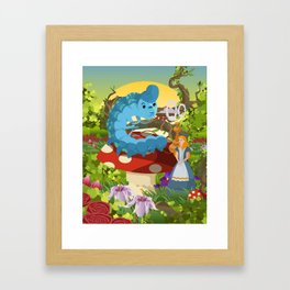 alice in wonderland and smoking caterpillar Framed Art Print