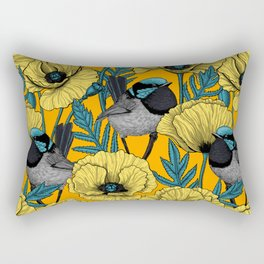 Fairy wren and poppies in yellow Rectangular Pillow