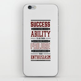 Lab No.4 Success is the ability Sir Winston Churchill Inspirational Quotes iPhone Skin
