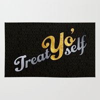 treat yo self Area & Throw Rugs featuring Treat Yo' Self by viperpaper