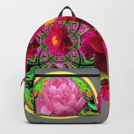 MODERN ART PINK PEONIES GREY ABSTRACT GARDEN Backpack