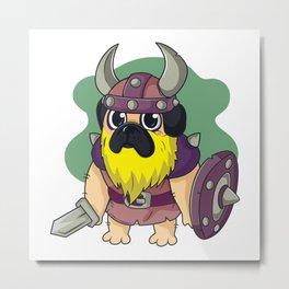Pug viking. Norse warrior Metal Print