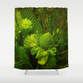 Green Hawaiian Succulents Shower Curtain