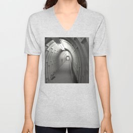 Cave Access Tunnel Black and White Unisex V-Neck