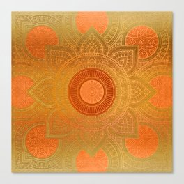 """Savanna Orange-Gold Mandala"" Canvas Print"