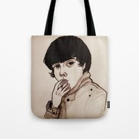 jake Tote Bags featuring Jake by Julio César