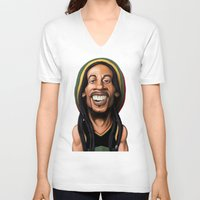 marley V-neck T-shirts featuring Celebrity Sunday - Robert Nesta Marley by rob art | illustration