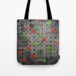 Grid with Green and Orange Highlights Tote Bag