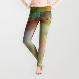 Colorful Abstract Marble Stone Green overtones Leggings