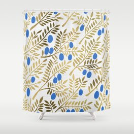 Olive Branches – Gold & Blue Shower Curtain