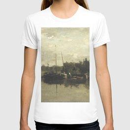 Charles-François Daubigny - Landschap met schepen op een rivier in de avond T-shirt