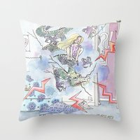 girl power Throw Pillows featuring Girl power by Dreamy Me
