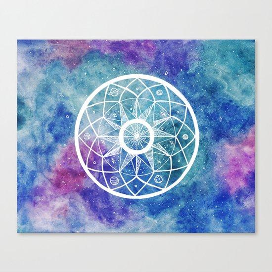Watercolour Cosmic Mandala Canvas Print