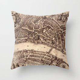 Map Of Basel 1615 Throw Pillow