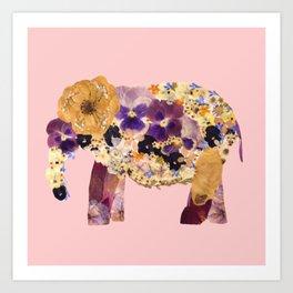 Floral Elephant - pink Art Print