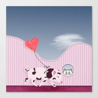 Canvas Prints featuring Baby Pig and Cat Design by oursunnycdays