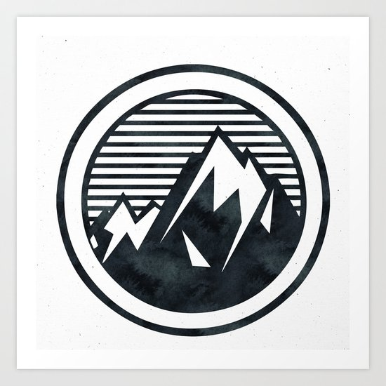 THE MOUNTAIN Black and White Art Print