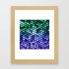 Green Purple Mermaid Tail Framed Art Print