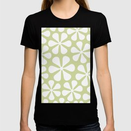 Abstract Flowers White on Lime Color T-shirt