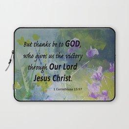 Floral With Scripture 1 Corinthians 15:57 Laptop Sleeve