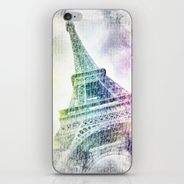 PARIS Watercolor Eiffel Tower | rainbow-coloured iPhone Skin