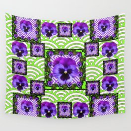 GREEN &  PURPLE PANSY ART ABSTRACT  PATTERN Wall Tapestry