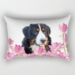 Bernese Mountain Dog between Lotus Flowers #dog #society6 Rectangular Pillow
