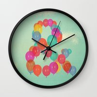 balloon Wall Clocks featuring Balloon by Pepe Psyche
