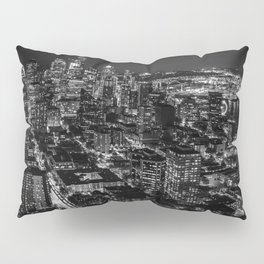 Seattle from the Space Needle in Black and White Pillow Sham