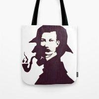 conan Tote Bags featuring Sir Arthur Conan Doyle by VivienKunde
