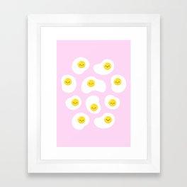 Cute Fried Eggs Pattern Framed Art Print
