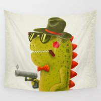 gangster Wall Tapestries featuring Dino bandito (olive) by Lime