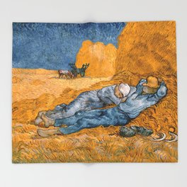 "Vincent van Gogh ""Noon: Rest from Work"" Throw Blanket"