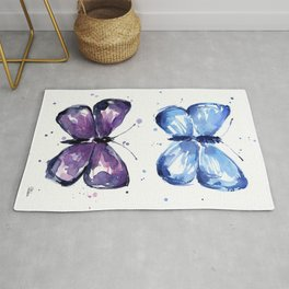 Blue Abstract Butterfly Rug