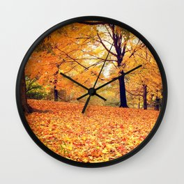New York City Autumn Leaves Wall Clock