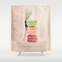 macaroons Shower Curtains featuring The macaroons hatter by Yann Pendaries