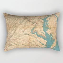 Vintage Map of Virginia and The Chesapeake Bay (1862) Rectangular Pillow