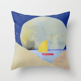 Large Full Moon Stars at Night and Sailboat Throw Pillow