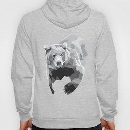Geometric Bear on White Hoody