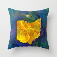 ohio state Throw Pillows featuring Ohio Map by Roger Wedegis
