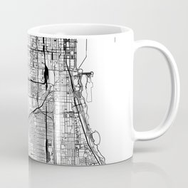 Chicago White Map Coffee Mug