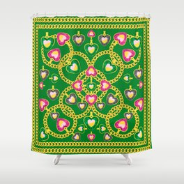 Golden Chains and Luxurious Jewelry Pattern Shower Curtain