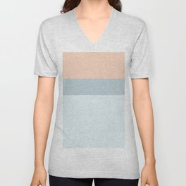 Modern  pastel coral blue color block stripes Unisex V-Neck