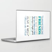 winnie the pooh Laptop & iPad Skins featuring Winnie the Pooh Friendship Quote - Blues & Greens by Jaydot Creative