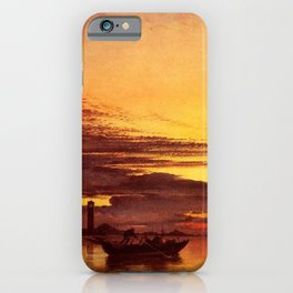 Red Sunset On The Lagoon Of Venice, Italy by Edward William Cooke Oil Painting iPhone Case