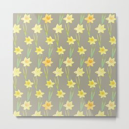 Yellow Watercolour Stemmed Daffodil Pattern Metal Print