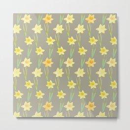 Yellow Watercolour Stemmed Daffodil Pattern Metal Print