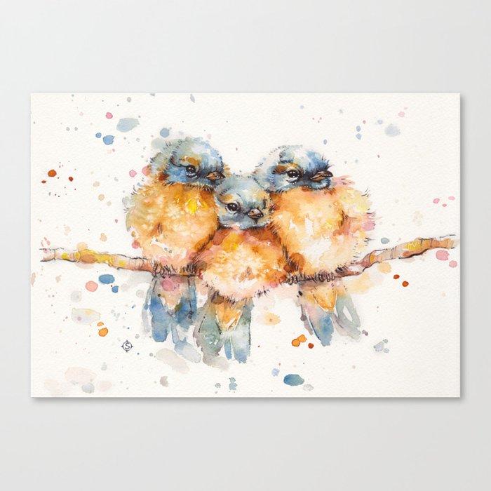 Little Bluebirds Canvas Print