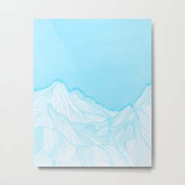 Lines in the mountains - Aqua Metal Print
