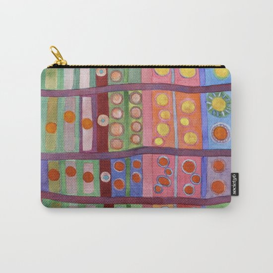 Colorful Grid Pattern with Numerous Circles Carry-All Pouch